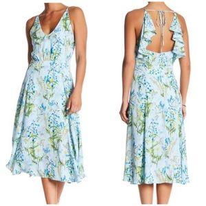 Adelyn Rae Floral Ruffle Back Midi Dress